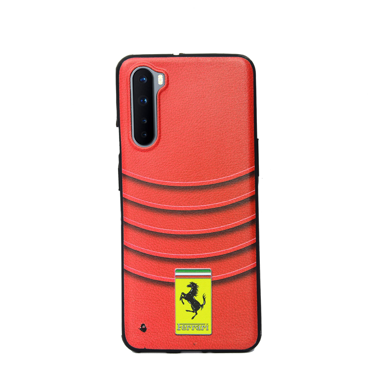 OnePlus Nord Red Ferrari With Stripe BG Soft Printed Color