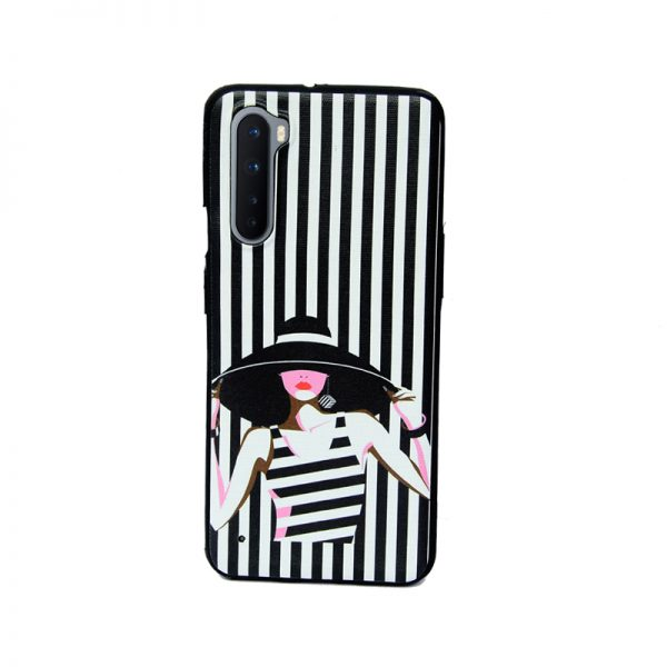 Oneplus Nord Black Stripe Girl Soft Printed Case
