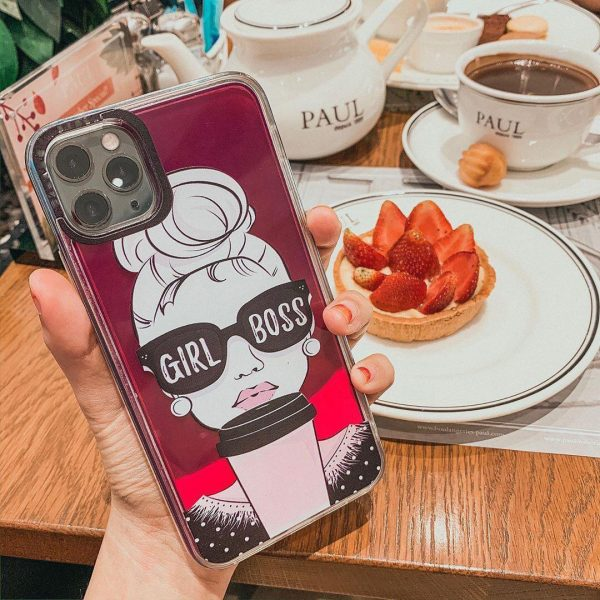 Trenx Exclusive Neon Sand Case Girl Boss For iPhone (Berry Pink)