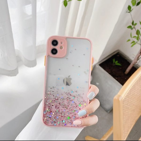 iPhone 11 Color Button Glitter Cover Case (Pink)