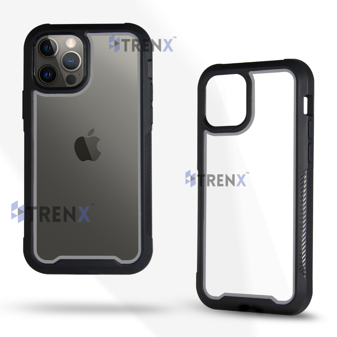 """Trenx Ultra Hybrid Bumper Cover Case Designed for iPhone 12 (6.1"""") & Designed for iPhone 12 Pro (6.1""""), Solid Body with Wireless Charging, Full Body Protection : Grey Black"""